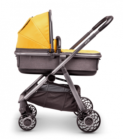 ARK-pushchair-mustard-carrycot